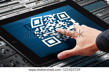 QR code on tablet