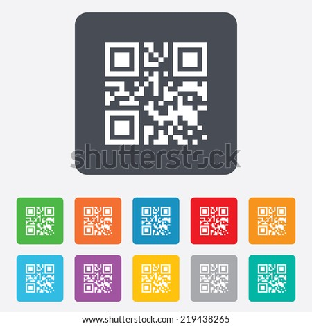Qr code sign icon. Scan code symbol. Coded word - success! Rounded squares 11 buttons.