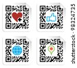 QR code technology concept with social media icons in labels. - stock photo