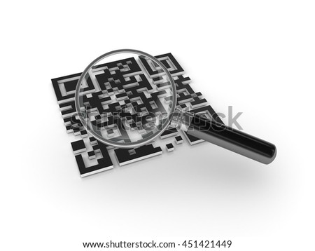 QR Code with Magnifying Glass and Binary Code - High Quality 3D Render  - stock photo