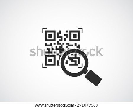 qr code with magnifying glass icon - business concept - stock photo