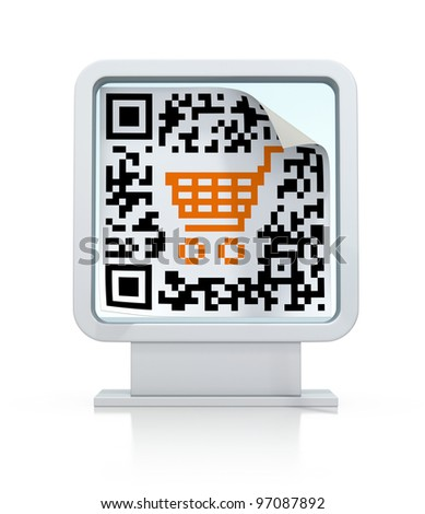 QR code with shopping cart on the billboard - stock photo