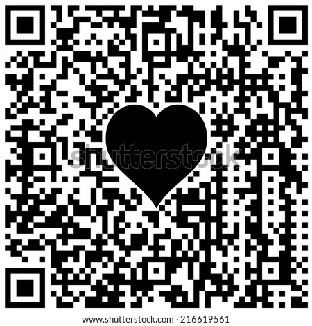 """QR code with symbol of heart and hidden text """"I love you!"""" - stock photo"""