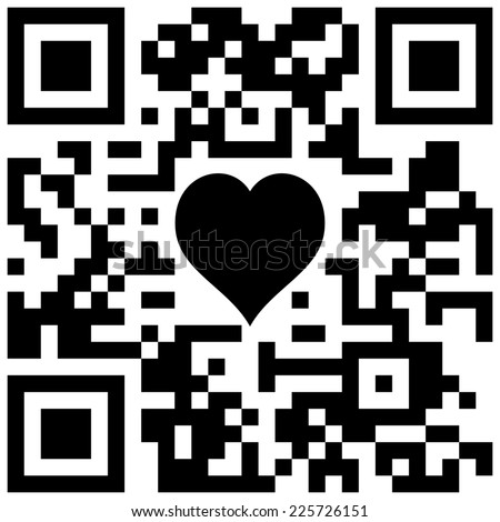 "QR code with text ""Sample QR code"" and symbol of heart - stock photo"