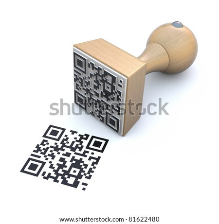 QR rubber stamp - stock photo