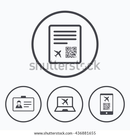 QR scan code in smartphone icon. Boarding pass flight sign. Identity ID card badge symbol. Icons in circles. - stock photo