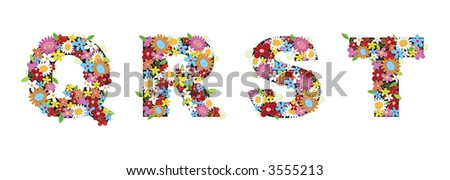 QRST spring flowers ALPHABETS (raster) - illustrated font / part of a full set