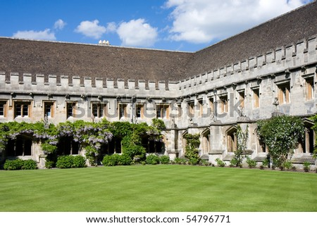 Quadrangle with cloisters at Magdalen College, Oxford - stock photo