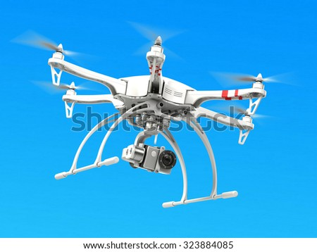 Quadrocopter drone with camera  - stock photo