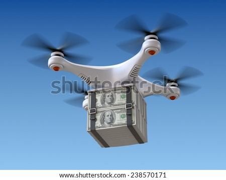 Quadrocopter drone with the money - stock photo