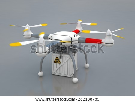 Quadrocopter with load - stock photo