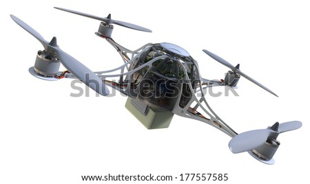 Quadrocopter with plastic container isolated on white - stock photo