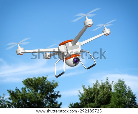 Quadrocopter with the camera, 3d illustration - stock photo