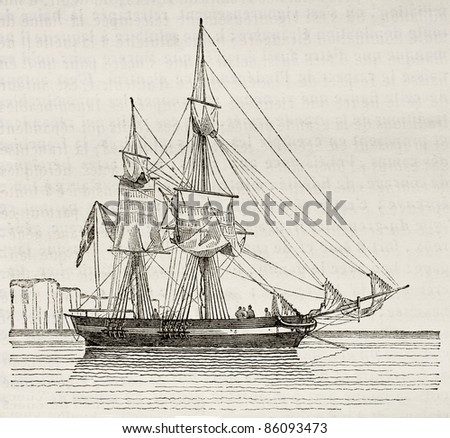 Quaiche old illustration, antique vessel. By unidentified author, published on Magasin Pittoresque, Paris, 1842 - stock photo