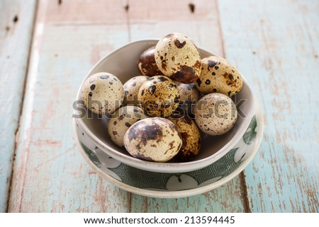 Quail Egg in cup - stock photo