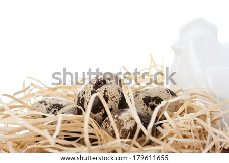 Quail eggs and white china hen - stock photo
