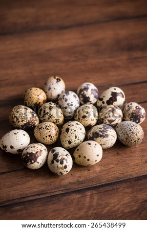Quail eggs, photo with copy space, selective focus - stock photo
