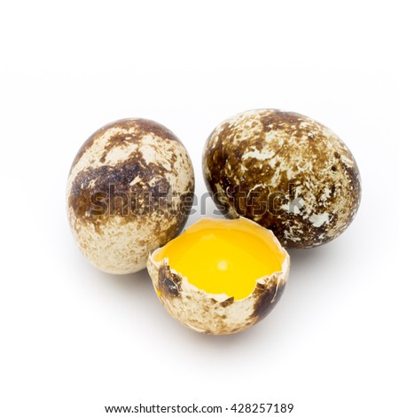 Quail eggs the isolated on a white background.