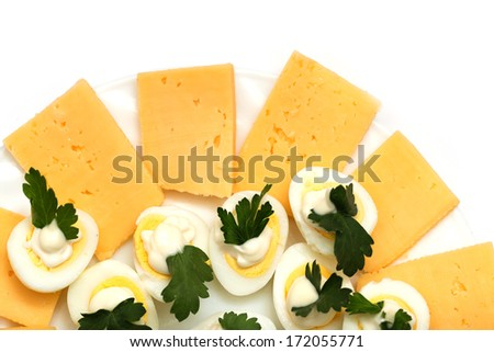 quail eggs with cheese - stock photo