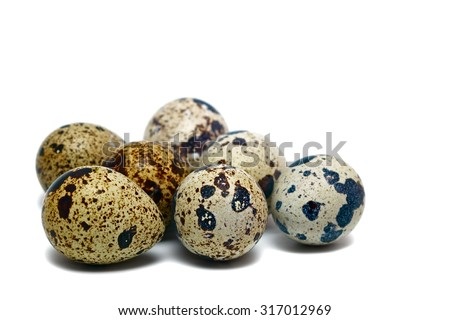 Quail eggson white. Closeup - stock photo