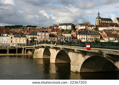 Quaint and picturesque, small town of Joigny. Region of Bourgogne (Burgundy), department of Yonne in France.