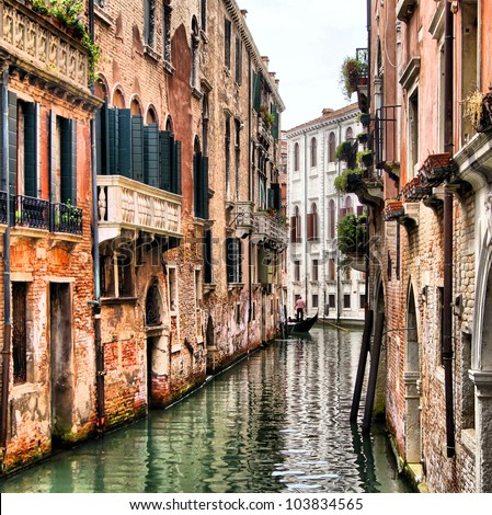 Quaint canal in historic Venice (with HDR processing) - stock photo