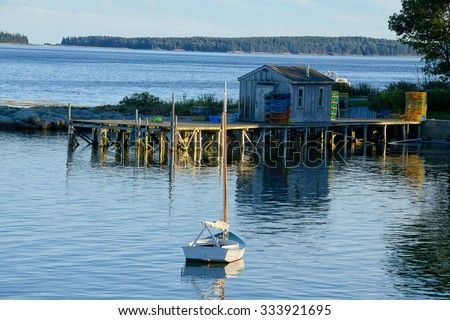 Quaint fishing village in Maine near Acadia National Park - stock photo