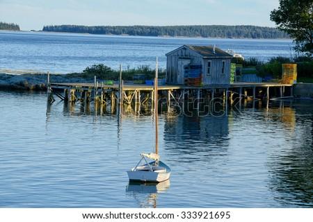 Quaint fishing village in Maine near Acadia National Park - stock photo