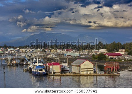 Quaint fishing village of Petersburg in Southeast Alaska, United States. Location is on Mitkof Island's northern end, where Wrangell Narrows joins Frederick Sound. - stock photo