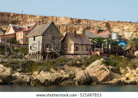 quaint rustic and ramshackle wooden buildings at Popeye Village, Anchor Bay, Mellieha, Malta, October 2016