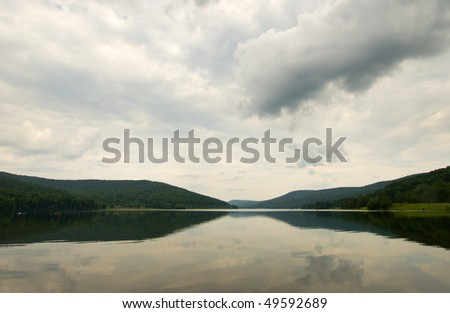 quaker lake and forest hills - stock photo