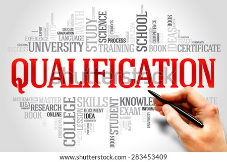 Qualification word cloud, education business concept - stock photo