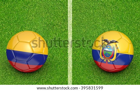 Qualifier preliminary football match between country teams Colombia and Ecuador - stock photo