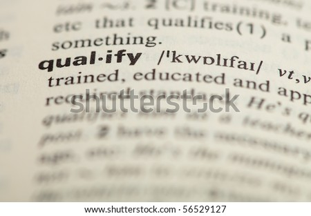 qualify definition - stock photo