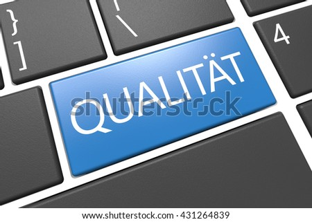 Qualitaet - german word for quality or grade - keyboard 3d render illustration with word on blue key