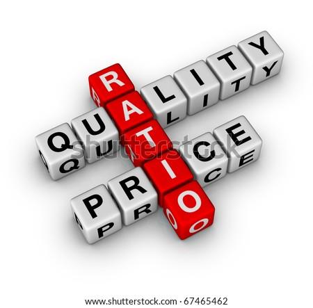 Quality and Price Ratio cubes crossword series - stock photo