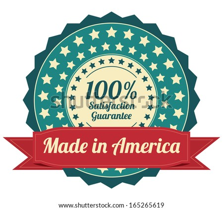 Quality Assurance and Quality Management Concept Present By Blue Vintage Style Icon or Badge With Red Ribbon Made in America 100 Percent Satisfaction Guarantee Isolated on White Background  - stock photo