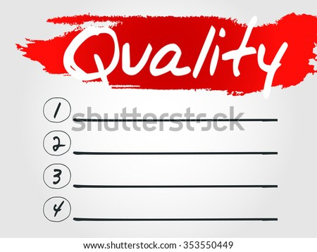 Quality Blank List concept background - stock photo
