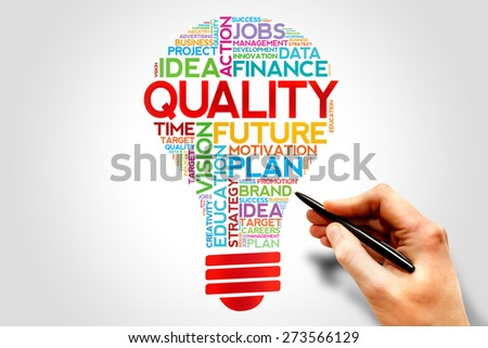 QUALITY bulb word cloud, business concept - stock photo