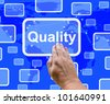 Quality Button On Screen Representing Excellent Service Or Product - stock photo