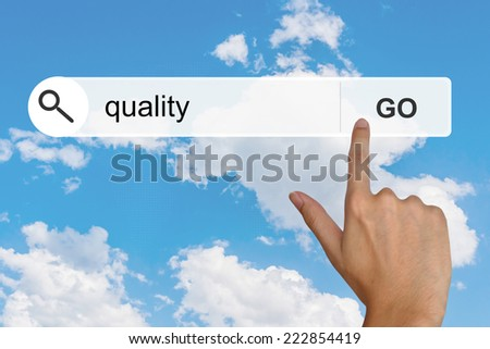 quality button on search toolbar - stock photo