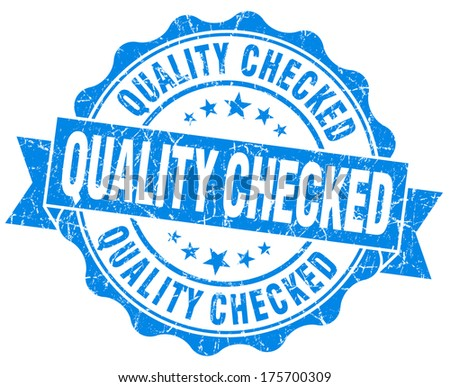 Quality checked grunge blue vintage round isolated seal - stock photo