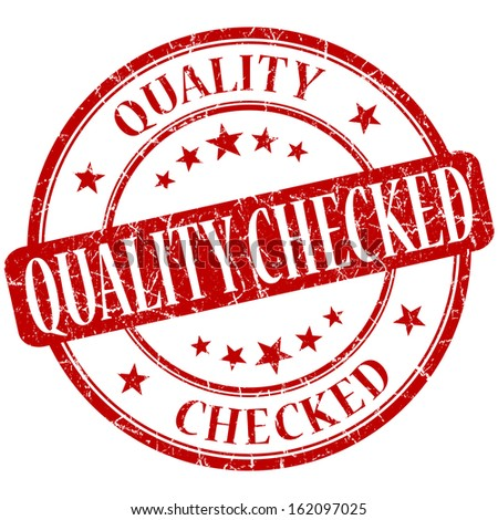 Quality checked grunge red round stamp - stock photo