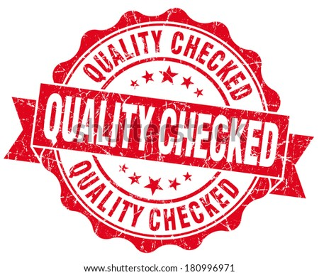Quality checked grunge red vintage round isolated seal - stock photo