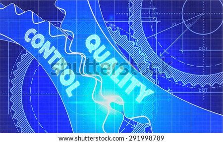 Quality Control Concept. Blueprint Background with Gears. Industrial Design. 3d illustration, Lens Flare. - stock photo