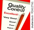 Quality Control Excellent Monitor Showing High Satisfaction And Perfection - stock photo