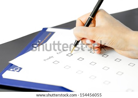 Quality control paper - stock photo