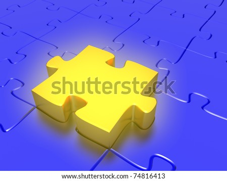 Quality 3D render of a golden puzzle piece acting as the perfect fit for a jigsaw puzzle. Conceptual business idea. - stock photo