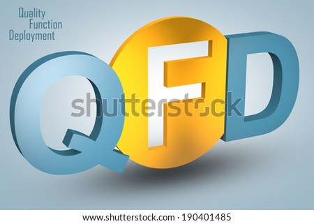 Quality Function Deployment - acronym 3d render illustration concept - stock photo