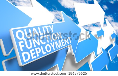 Quality Function Deployment 3d render concept with blue and white arrows flying in a blue sky with clouds - stock photo